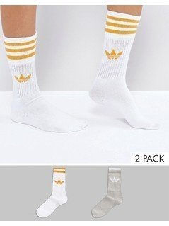 Adidas Originals 2 Pack Crew Socks In Grey And Yellow - Grey