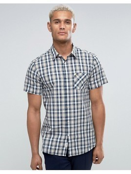 Jack Wills Stableton Regular Fit Short Sleeve Check Shirt In Navy - Navy