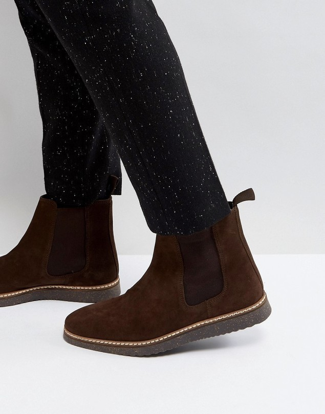 ASOS Chelsea Boots In Brown Suede With Black Wedge Sole - Tan