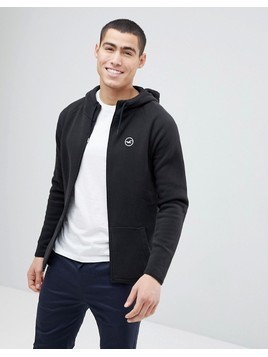 Hollister Full Zip Hoodie Athletic Icon Logo in Black - Grey