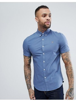 Farah Brewer Slim Fit Short Sleeve Oxford Shirt in Blue - Blue