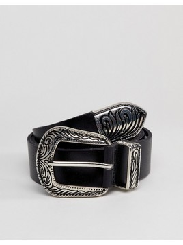 Pieces Leather Western Belt - Black
