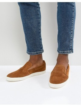 Base London Clipper Suede Espadrille Slip Ons in Tan - Tan