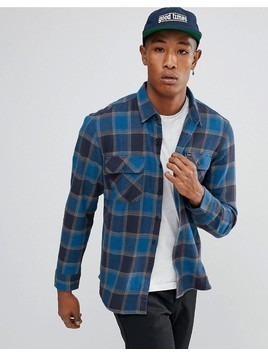 Brixton Bowery Flannel Check Shirt in Blue - Blue