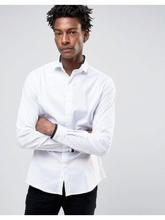 Noose&Monkey Skinny Smart Shirt With Collar Detail - White