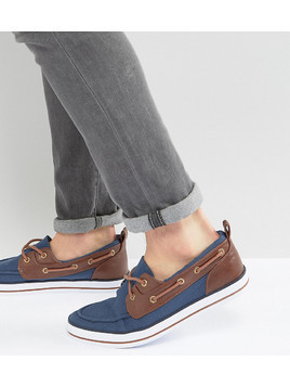 ASOS Wide Fit Boat Shoes In Navy - Navy