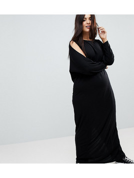 ASOS CURVE Maxi Harem Dress With Cold Shoulder And Long Sleeves - Black