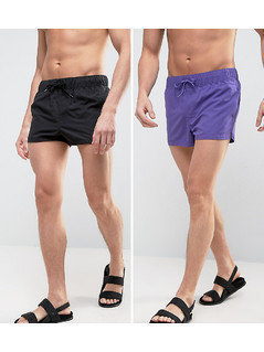 ASOS Swim Shorts 2 Pack In Purple And Black In Super Short Length - Multi