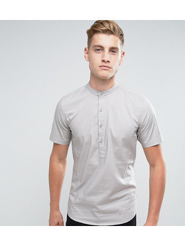 Only&Sons Skinny Short Sleeve Grandad Shirt - Grey