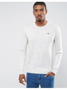 Hollister Falem Crew Neck Jumper Icon Logo Raglan in Beige - Beige