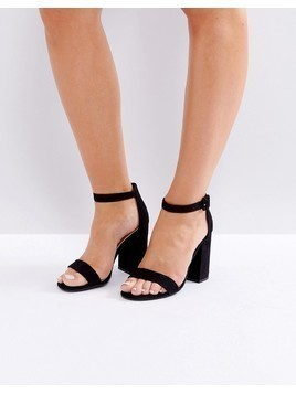 New Look Barely There Block Heeled Sandal - Black
