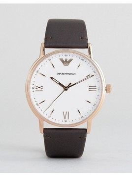 Emporio Armani AR11012 Leather Watch In Brown - Brown