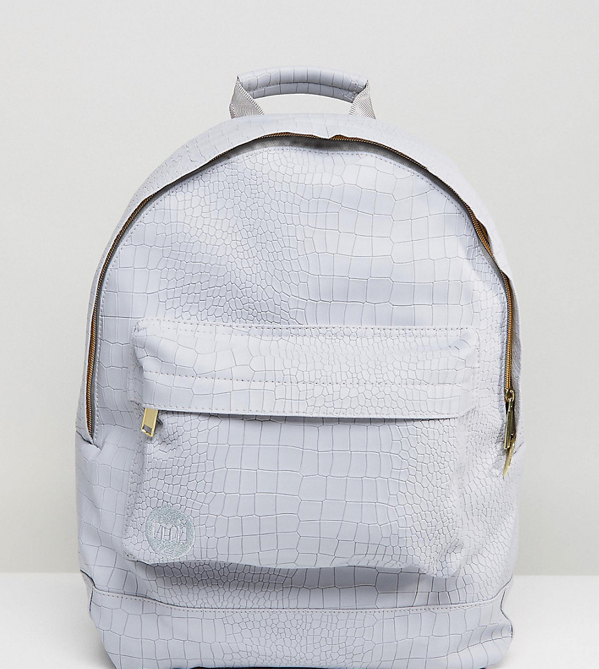 Mi-Pac Exclusive Faux Croc Backpack in Grey - Grey