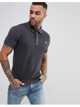 Fred Perry Textured Knitted Polo Shirt In Grey - Grey