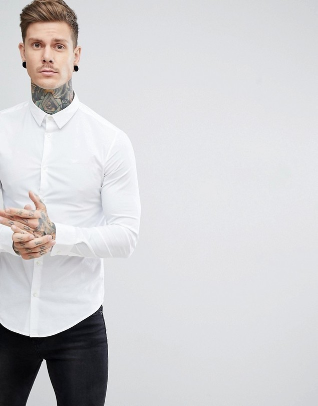 Emporio Armani Slim Fit Stretch Poplin Shirt In White - White