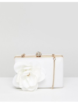 Forever New Bridal Satin Box Clutch with Floral Trim - White
