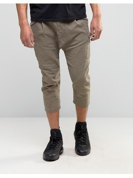 ASOS Drop Crotch Cropped Trousers With Cargo Styling - Brown