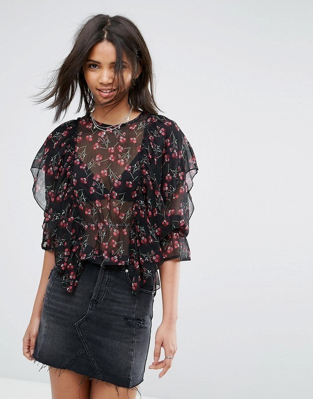 Rage Frilled Long Sleeve Floral Blouse - Multi