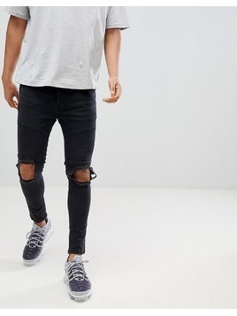 Night Addict Supper Skinny Panelled Ripped Jeans - Black