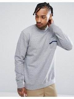 Vans Stripe Pocket Fleece Sweatshirt VA391S02F - Grey