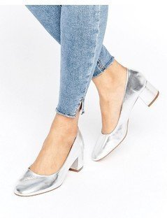 Pull&Bear Metallic Ballet Pump with Block Heel - Silver