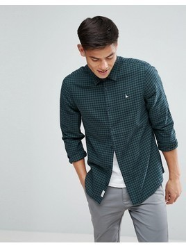 Jack Wills Salcombe Regular Fit Flannel Gingham Check Shirt In Navy/Green - Green
