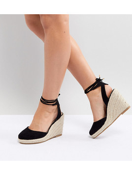 ASOS DESIGN Juiciest Wide Fit Espadrille Wedges - Black