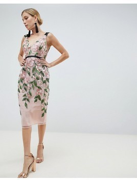 ASOS DESIGN Floral Embroidered Pencil Midi Dress - Multi