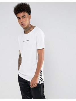 Criminal Damage T-Shirt In White With Lace Sides - White