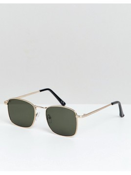 ASOS DESIGN square sunglasses in gold with smoke lens - Gold