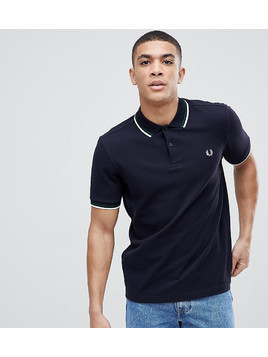 Fred Perry Slim Fit Twin Tipped Logo Polo in Navy - Navy