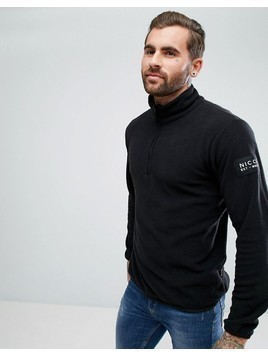 Nicce London Half Zip Track Top In Black Fleece - Black