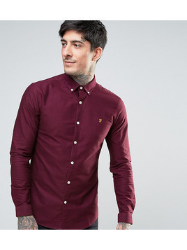 Farah Stretch Skinny Fit Buttondown Oxford Shirt in Red - Red