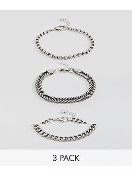 ASOS DESIGN Mixed Chain Bracelet Pack In Burnished Silver - Silver