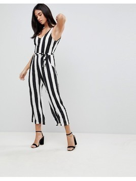 Ax Paris Striped Jumpsuit - Black
