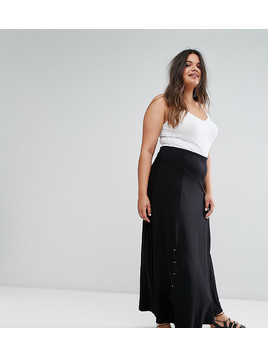 ASOS CURVE Eyelet Lace Up Maxi Skirt - Black