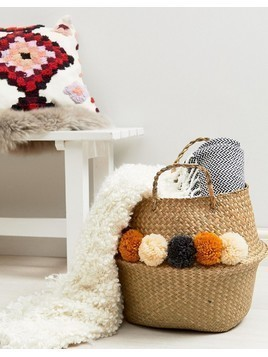 Pimkie Orange and Cream Pom Pom Detail Basket - Multi