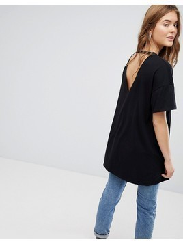 Bershka Longline Tee With Hardware - Black
