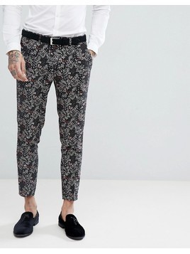 Devil's Advocate Skinny Fit Floral Cropped Suit Trousers - Black