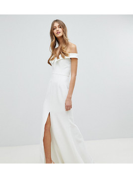 Jarlo Bardot Maxi Dress With Thigh Split And Train Detail - White