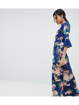 Parisian Tall floral maxi dress with wrap front - Blue