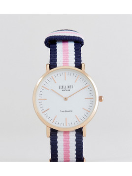 Reclaimed Vintage Inspired Stripe Canvas Watch In Pink/Blue 36mm Exclusive to ASOS - Pink