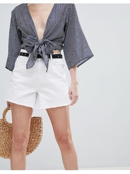 New Look Longer Line Mom Denim Short - White