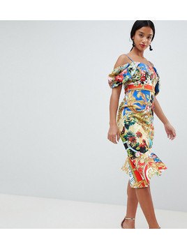 ASOS DESIGN Petite scuba cold shoulder printed trophy square neck midi dress - Multi