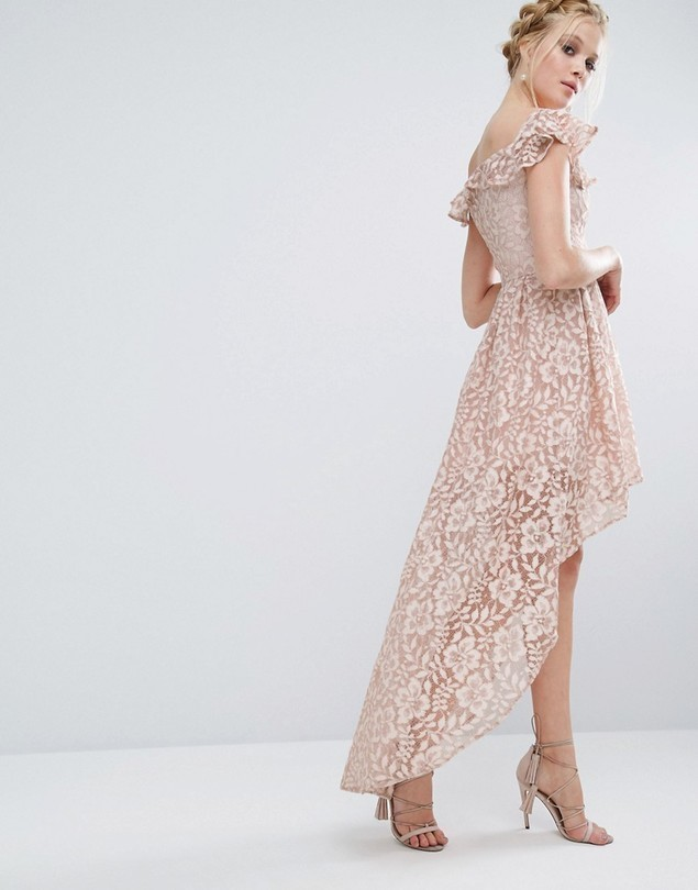 Chi Chi London Lace Asymmetric Off The Shoulder Dress With Frill Details - Pink