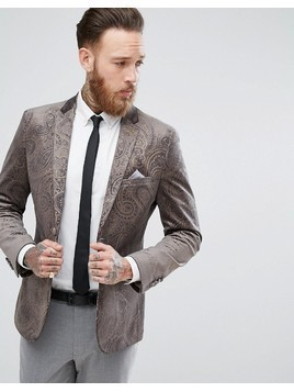 Harry Brown Dove Grey velvet And Gold Embossed Skinny Fit Suit Jacket - Grey