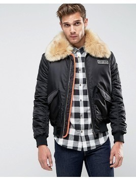 Brave Soul MA2 Bomber with Faux Fur Collar and Rip Off Badge - Black