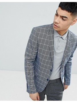 boohooMAN Blazer In Light Grey Check - Blue