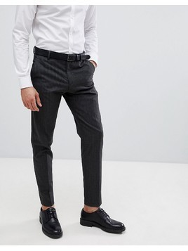 Selected Homme Tapered Suit Trouser In Pinstripe - Grey