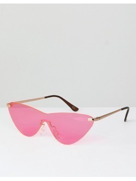 ASOS Rimless Cat Eye Fashion Sunglasses In Bright Pink Lens - Pink